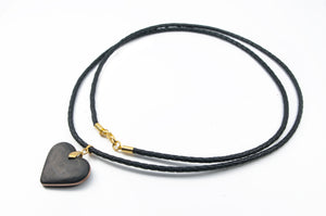 Carbon Fiber and Bronze Heart Necklace