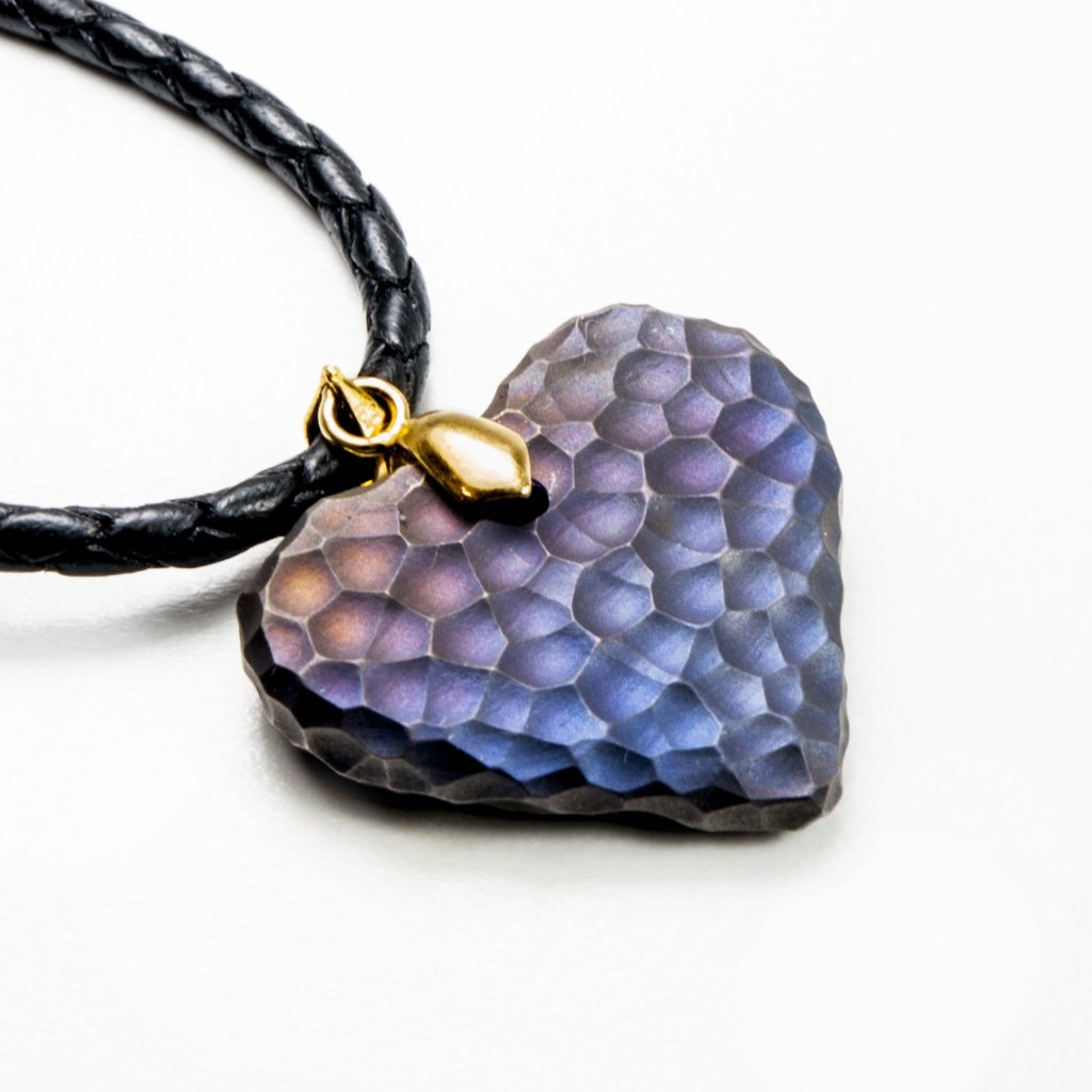 Titanium Moon Heart ( rainbow ) Necklace