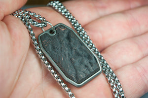 titanium dog tag with carbon fiber