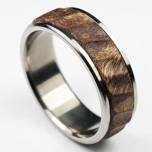 Stabilized wood and titanium wedding band