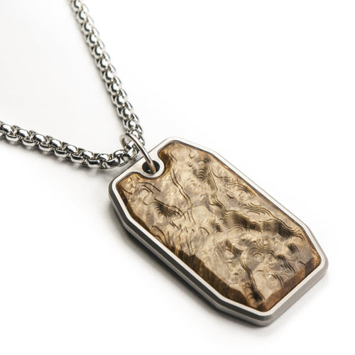 wood and titanium dog tag
