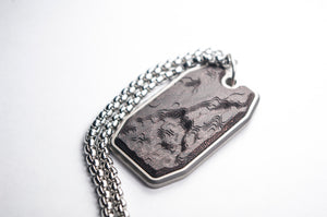 Titanium and Carbon Fiber Pendant - Topographic Dog Tag