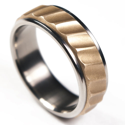 titanium and bronze ring
