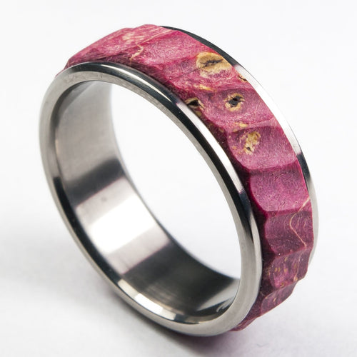 Titanium and Red Maple Burl Ring