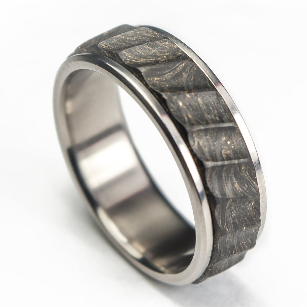 gold forged carbon fiber ring