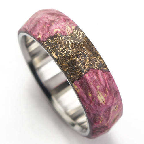 red maple burl ring with bronze