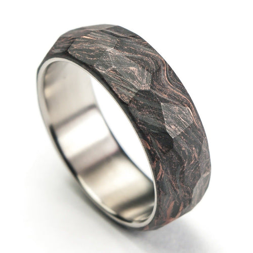 Rose gold forged carbon fiber ring