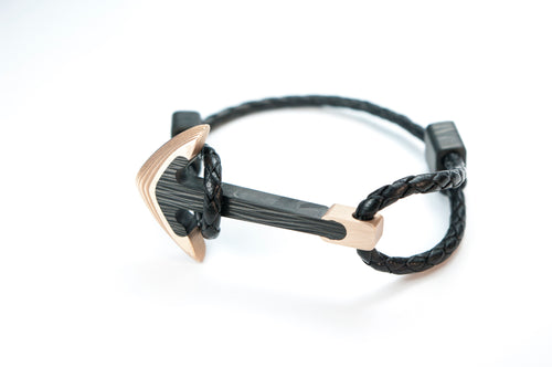 Carbon fiber bracelet , Bronze and carbon fiber , carbon fiber anchor