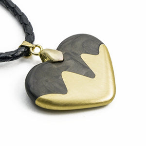 Wavy Carbon Fiber and Bronze Heart Necklace