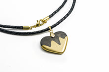 Load image into Gallery viewer, Wavy Carbon Fiber and Bronze Heart Necklace