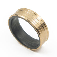 Load image into Gallery viewer, Carbon fiber gold ring, carbon fiber wedding band , carbon fiber bronze ring