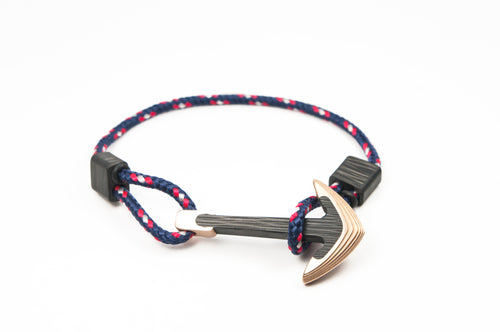 Bronze / Carbon fiber anchor bracelet (captain paracord)