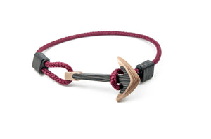 Bronze / Carbon fiber anchor bracelet (burgundy paracord)