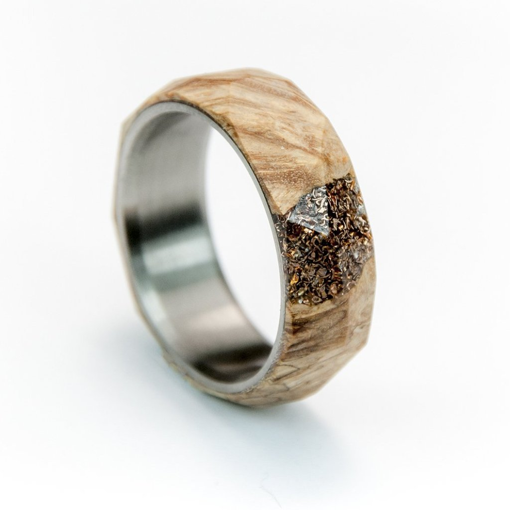 Maple ring, stabilized ring, titanium wood ring, wedding bang