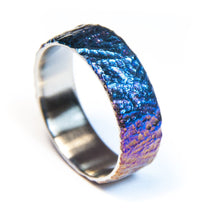 Load image into Gallery viewer, Colorful titanium ring, Titanium wedding band, hand carved  moon like surface, mens ring.