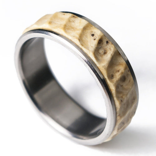 Titanium and stabilized wood ring