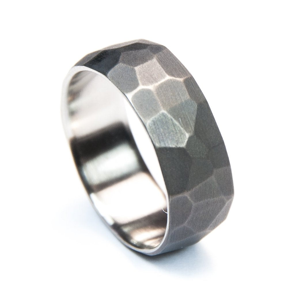 Titanium Facet Ring (Aged Finish)