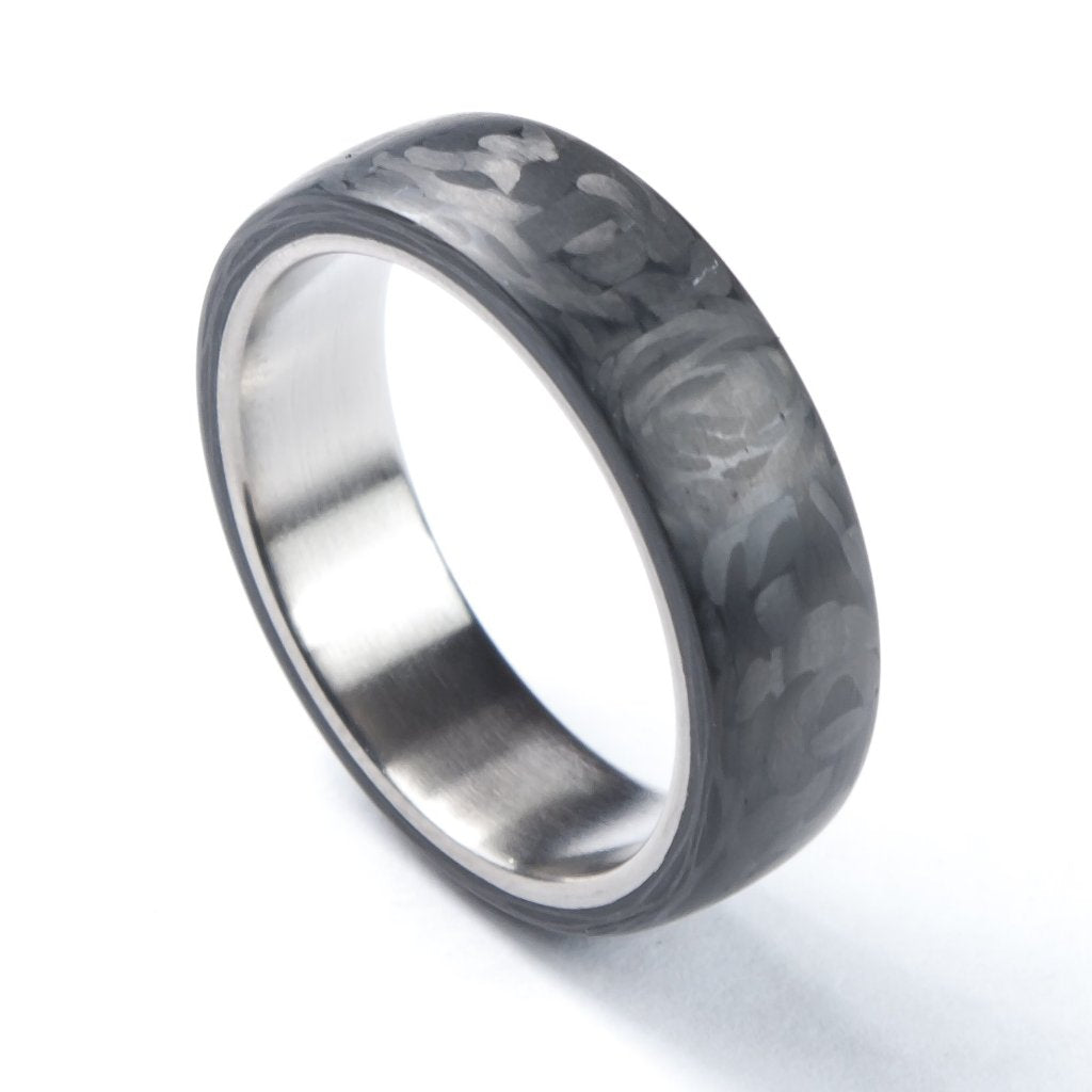 Carbon fiber ring, titanium ring, carbon fiber and titanium ring, modern rings, modern wedding bands.