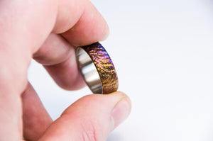 Colorful titanium ring, Titanium wedding band, hand carved  moon like surface, mens ring.