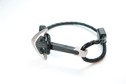 Titanium / Carbon fiber anchor bracelet (black leather cord)
