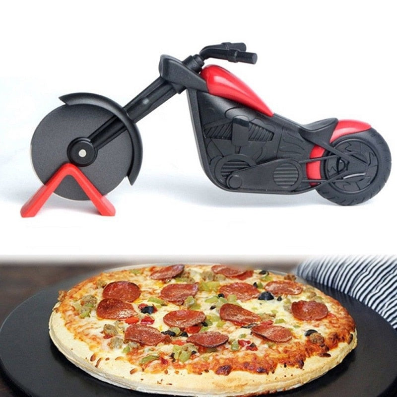 Luxe Pizzasnijder Motor | Pizza roller | Pizza Snijder Motorfiets | RVS
