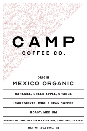 Mexico Organic Whole Bean Travel Size 2 oz. (Medium) - Camp Coffee Co.