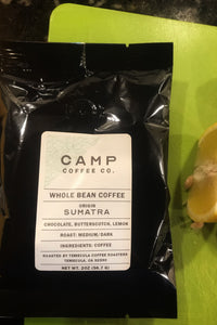 Sumatra Whole Bean Travel Size 2 oz. (Medium/Dark) - Camp Coffee Co.
