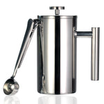Steel Camping French Press - Double Walled with Spoon - Camp Coffee Co.