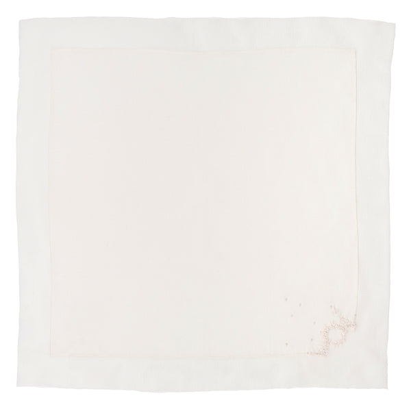 Serviettes de table Blanc Lait toile coton lin brodé
