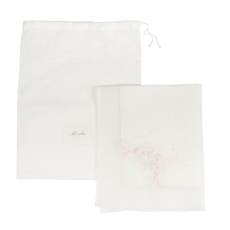 Set de table Blanc Lait toile coton lin brodé