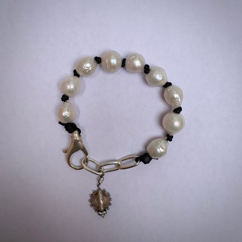 A Pony and Pearls - Baroque Pearl bracelet with chain and charm dangle