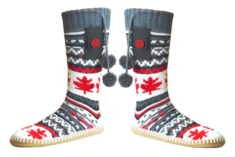 Warm your cold feet with a cozy pair of heated Canadian slippers