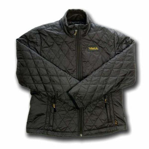 Black heated battery operated jacket to keep you warm hiking, skiing, outdoor sports in the winter