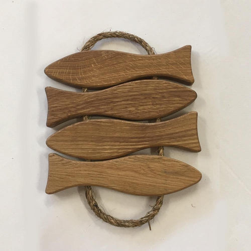 Fish Pot Coaster- Oak Linen Oiled - 4 Fish - TANZ Products