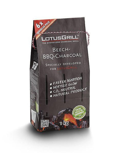 LotusGrill Natural Beechwood Charcoal 1 kg in paper bag - TANZ Products Ltd