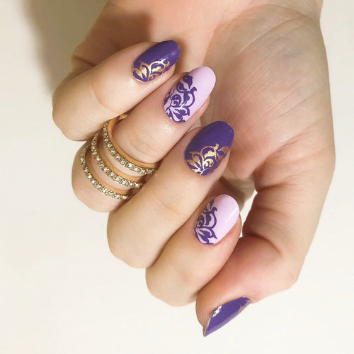 Iris | Purple and Gold Floral Pattern Nail Wraps