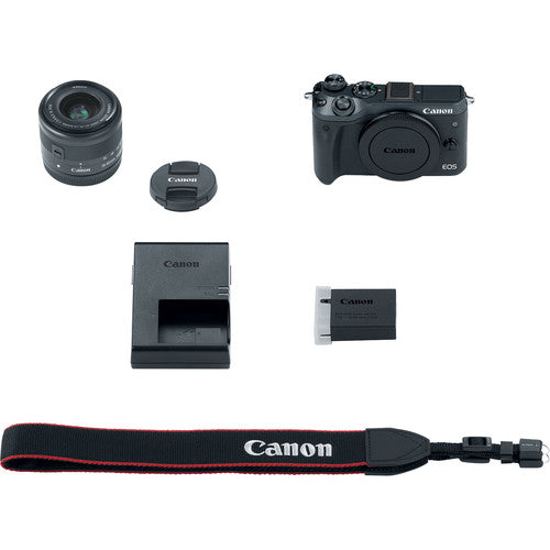 Canon EOS M6 Mirrorless Digital Camera with 15-45mm Lens - Black - Hashtechguy