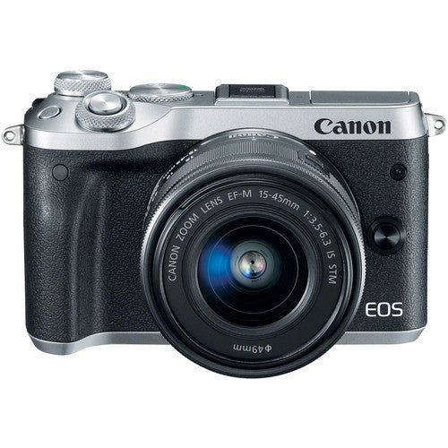 Canon EOS M6 Mirrorless Digital Camera with 15-45mm Lens - Silver - Hashtechguy