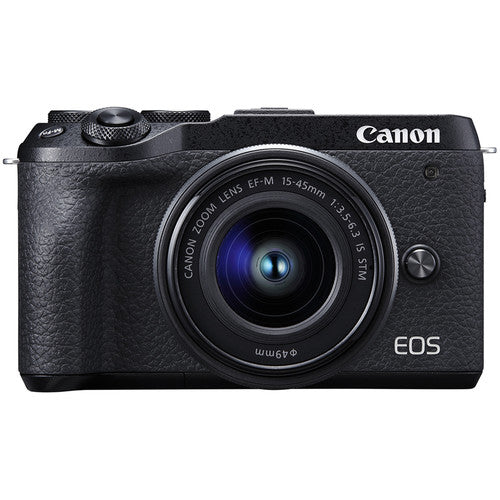 Canon EOS M6 Mark II Mirrorless Digital Camera with 15-45mm Lens - Black - Hashtechguy