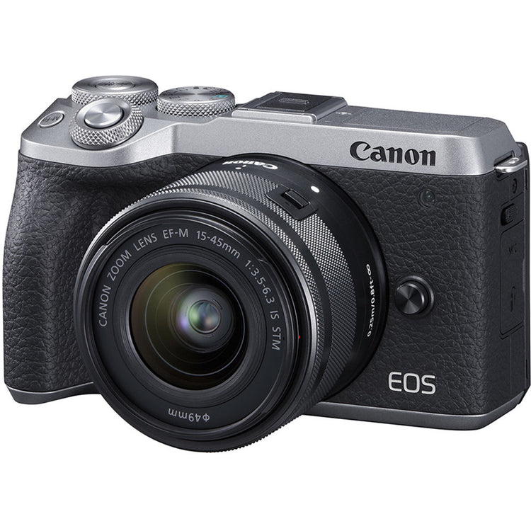 Canon EOS M6 Mark II Mirrorless Digital Camera with 15-45mm Lens - Silver - Hashtechguy