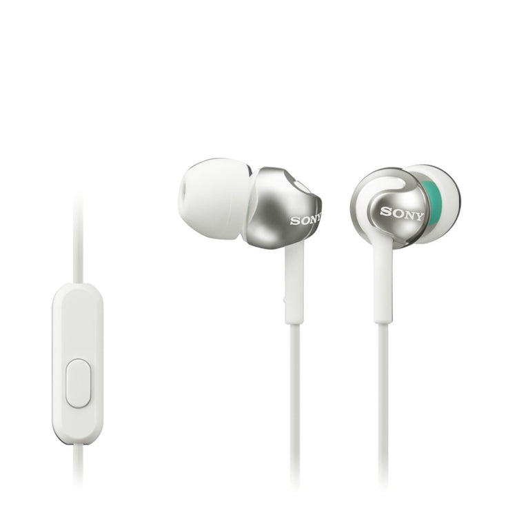 Sony MDREX110APW.CE7 Deep Bass Earphones with Smartphone Control and Mic - Metallic White - Hashtechguy