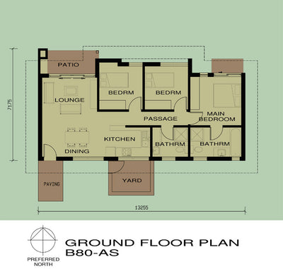 3 Bedroom Bali House Plan - B80AS Photo