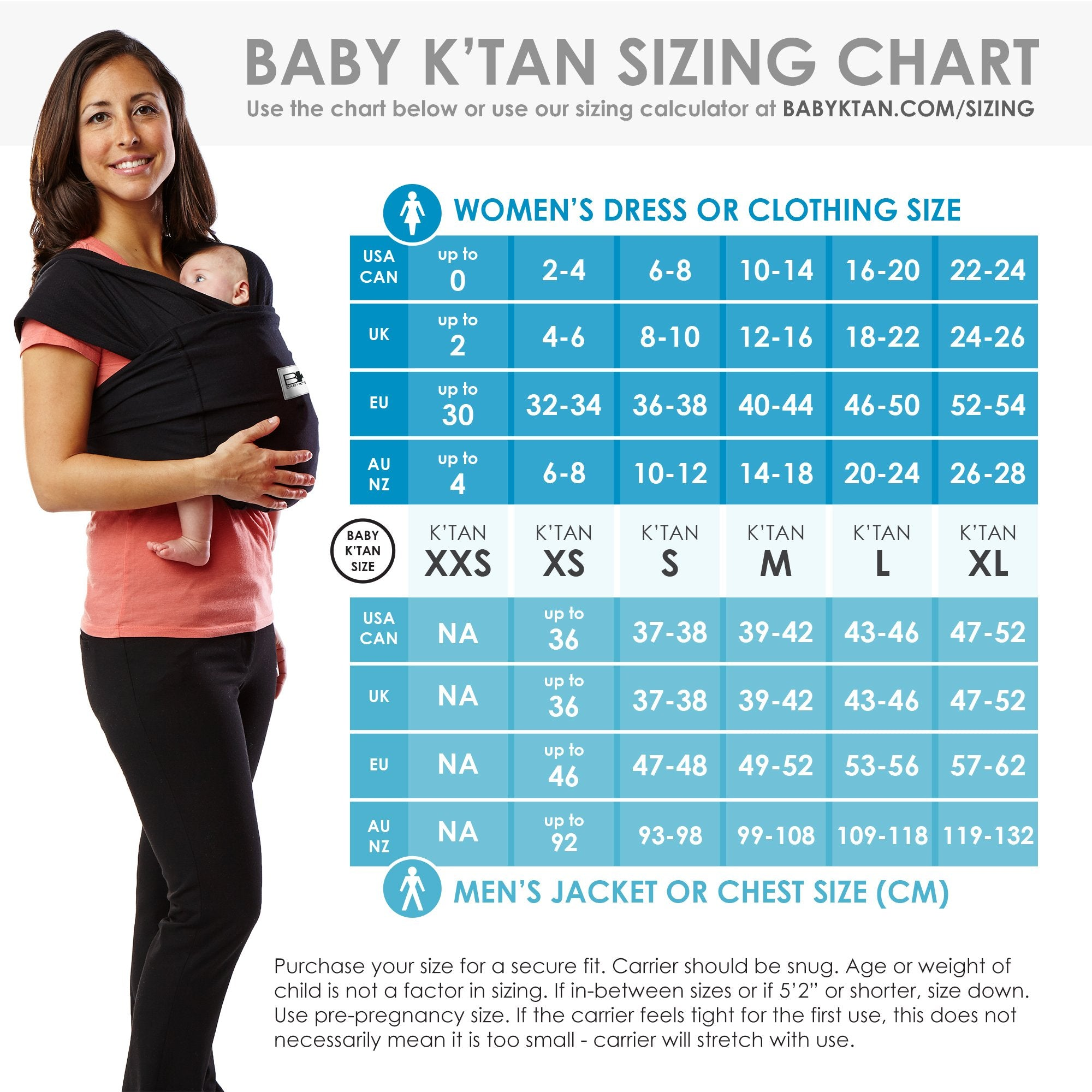 Sizing chart and tables for Baby K'Tan baby carrier different models