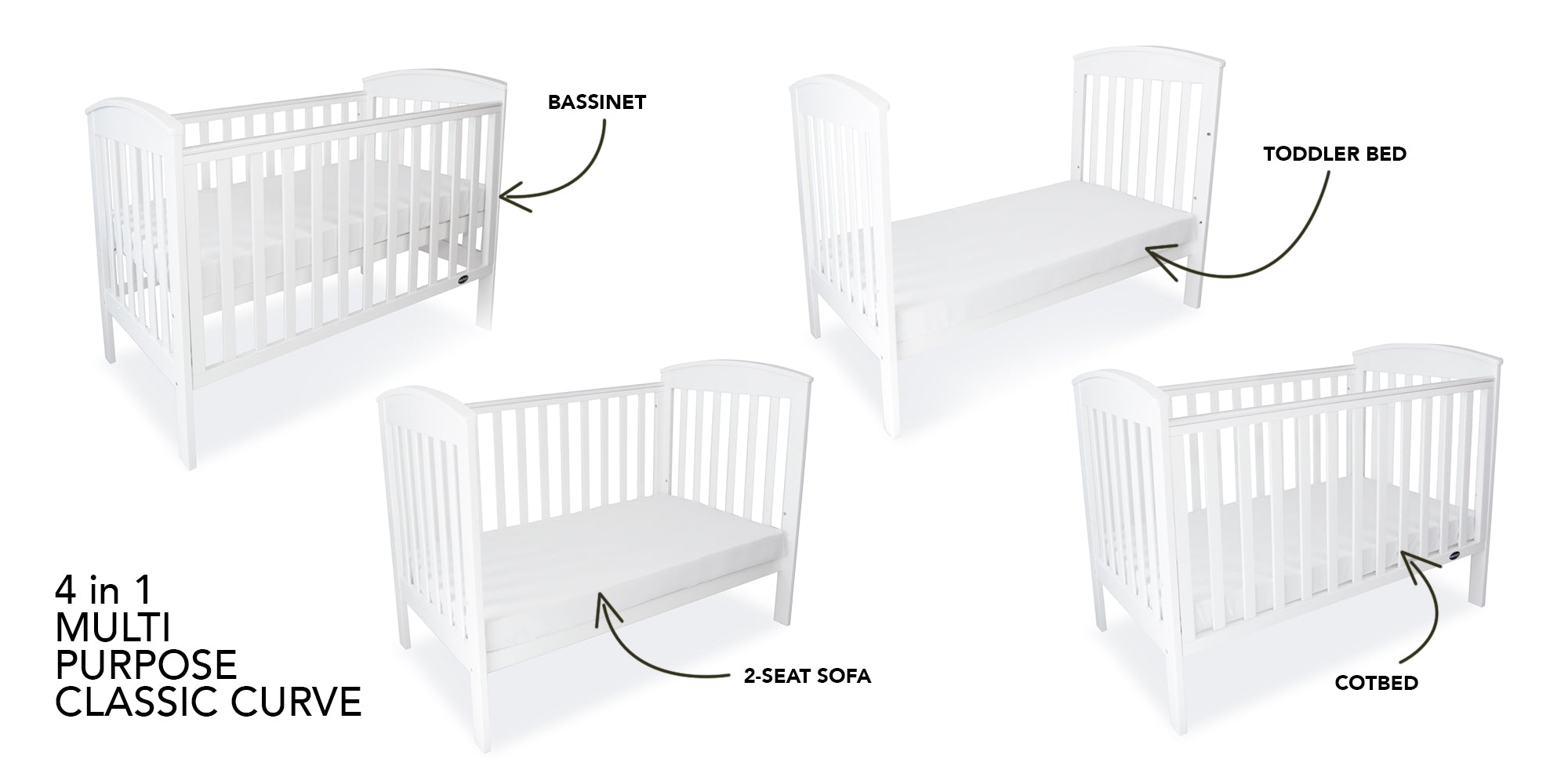 Babyhood Classic Curve Cot with 4 different functions