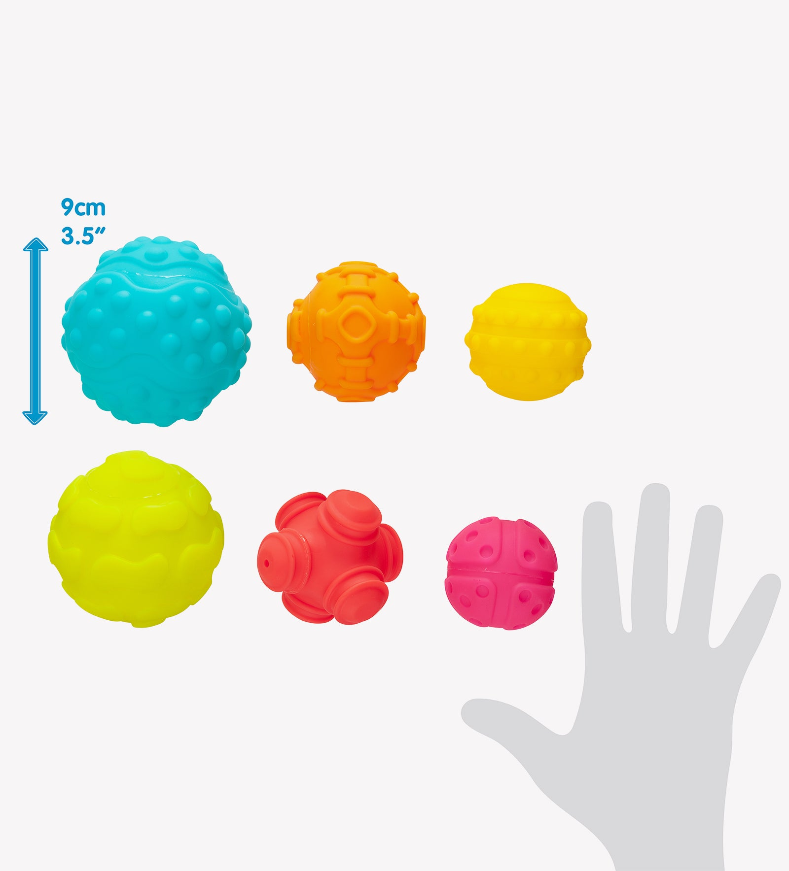 Playgro textured ball for toddlers size comparison to human hands