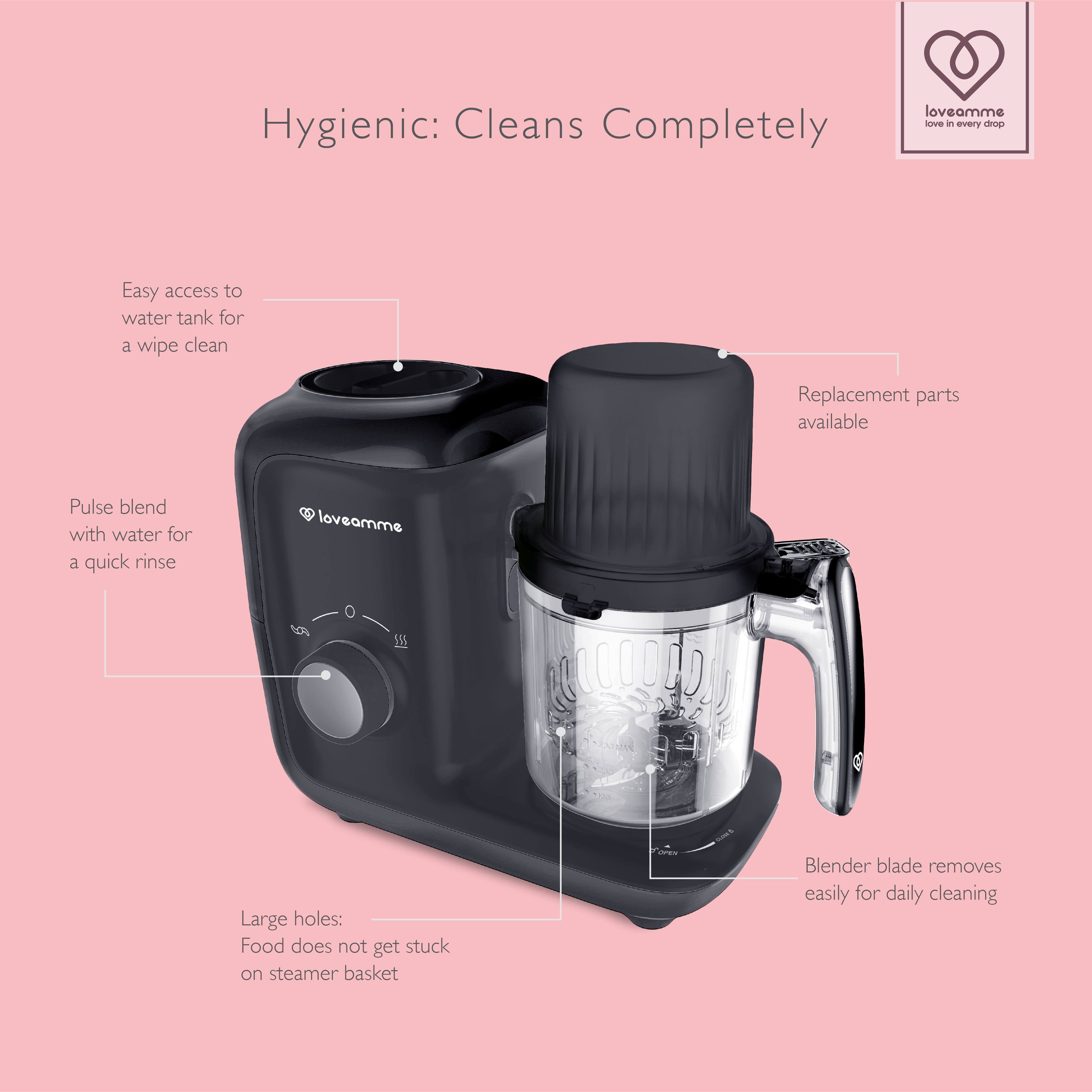 LoveAmme LoveCook Mate food processor with its spare parts and how to clean