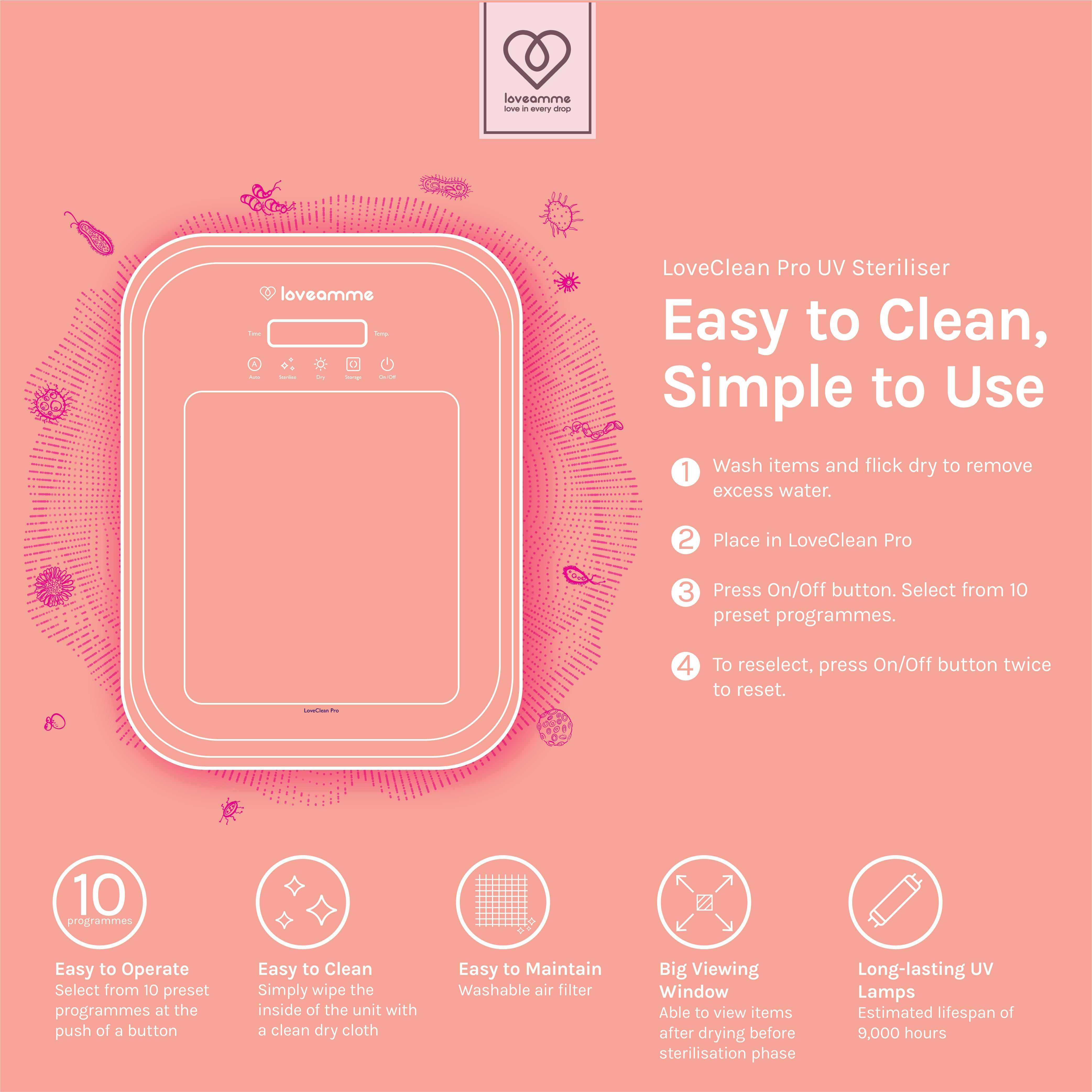 Loveamme LoveClean Pro UV Steriliser is simple to use and easy to clean