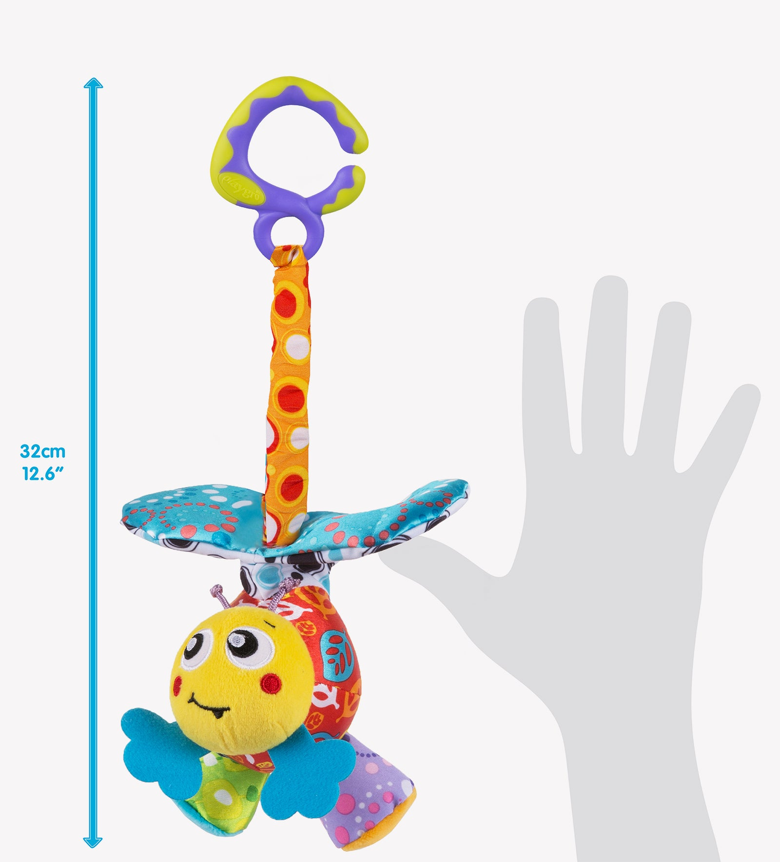 Playgro baby toy Mover Bee size in comparison to human hands