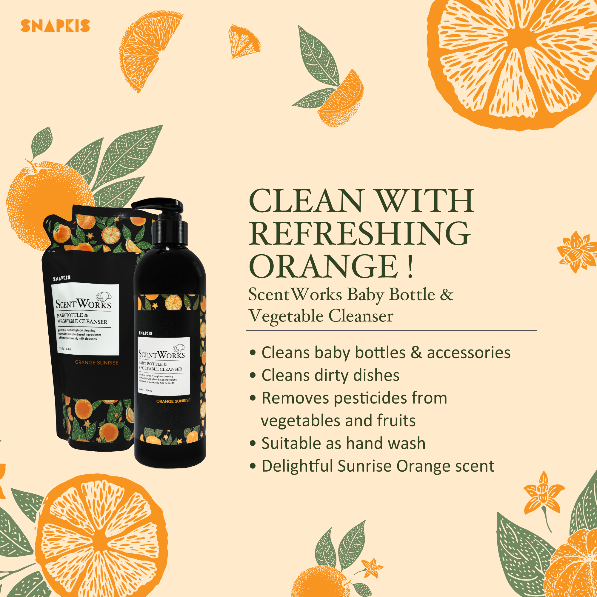 Snapkis Bottle Cleanser Orange