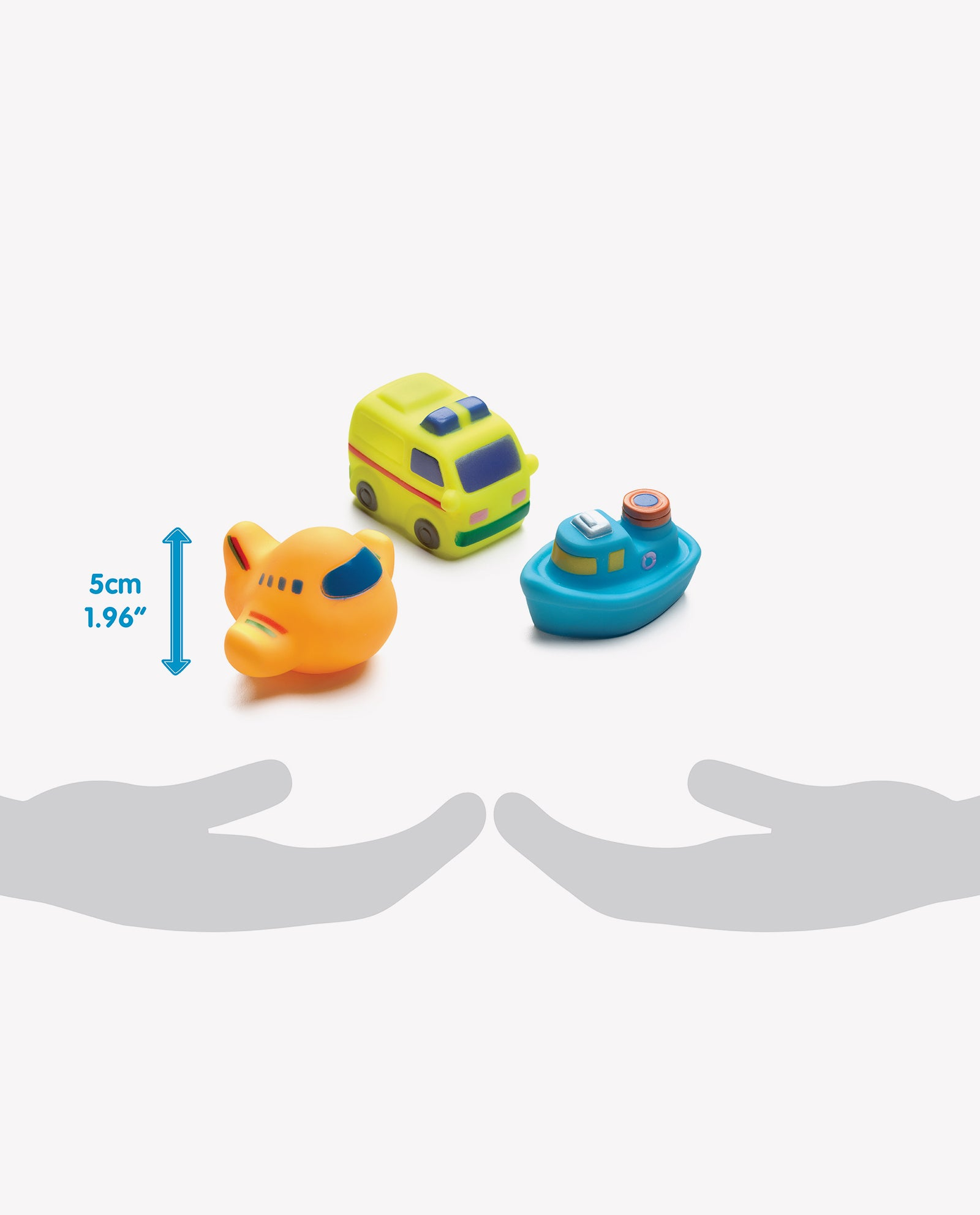 Playgro squirtees bath tub toy in the shape of plane, car and boat size comparison in relation to hand